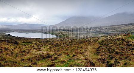 Lake near the Errigal mountain in Co.Donegal on a rainy day