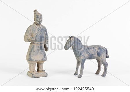 Replica of a terracotta infantryman and horse from the funerary army of a Chinese Emperor