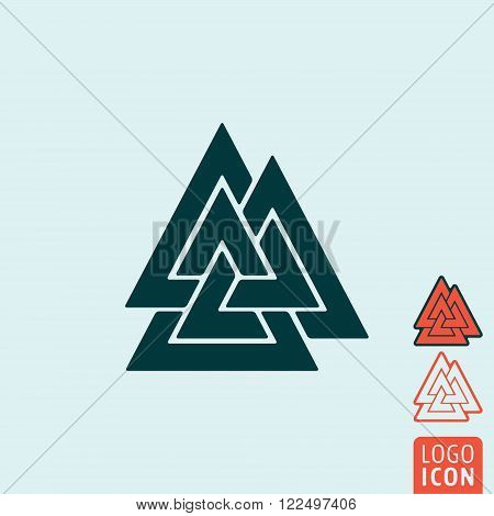 Valknut icon. Valknut symbol. Knot of the Slain isolated. Vector illustration