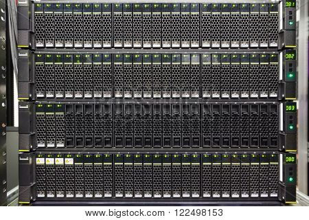 set of black hard drives in the storage system in the data center