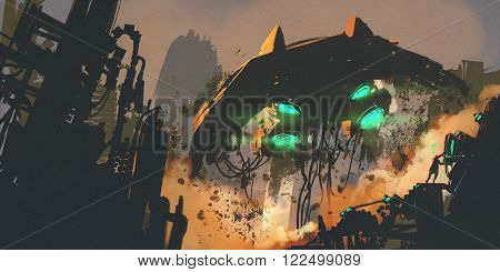 sci-fi scene showing man restoring the spaceship, digital painting