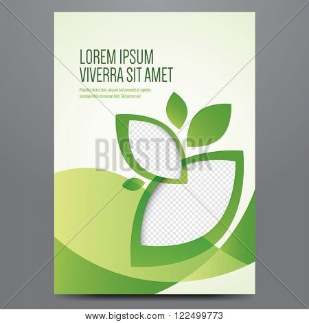Brochure, poster, annual report, magazine cover, eco flyer vector template. Modern green corporate design. poster