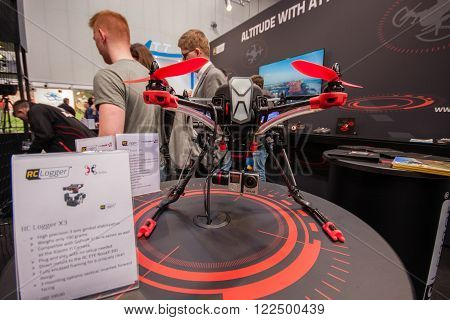 HANNOVER GERMANY - MARCH 14 2016: RC Logger X3 drone displayed at CeBIT information technology trade show in Hannover Germany on March 14 2016.