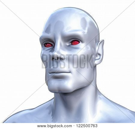3D Isolated Fiction Humanoid Illustration. Fantasy Concept.