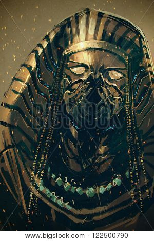 Pharaoh of Egypt, sci-fi concep, illustration painting