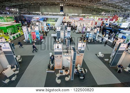 HANNOVER GERMANY - MARCH 15 2016: Multiple India booths at CeBIT information technology trade show in Hannover Germany on March 15 2016.