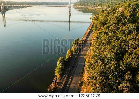 Mid-Hudson bridge and train tracks along the Hudson River