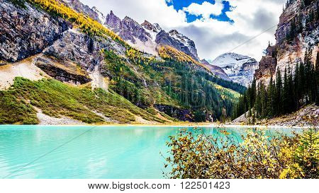 Turquoise water of Lake Louise with Fairview Mountain in Banff National Park in the Canadian Rocky Mountains under a beautiful blue sky with a few clouds
