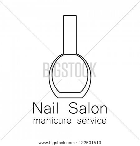 Nail Salon logo. Simple linear nail polishes on a white background. Beauty industry, nail salon, manicure service, spa boutique, cosmetic products. Cosmetic label. Vector illustration.