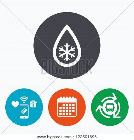 Defrosting sign icon. From ice to water symbol. Mobile payments, calendar and wifi icons. Bus shuttle.