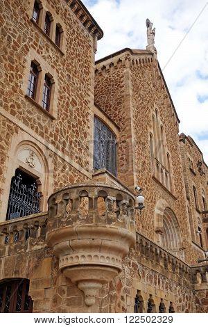 BARCELONA, SPAIN JULY 31, 2015: Sanctuary facade of St. Joseph of the Mountain (El Real Santuario de San Jose de la Montana) in Barcelona, Spain