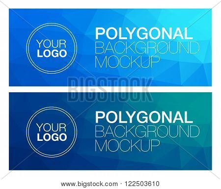 Horizontal colorful vibrant modern polygonal banner mock ups