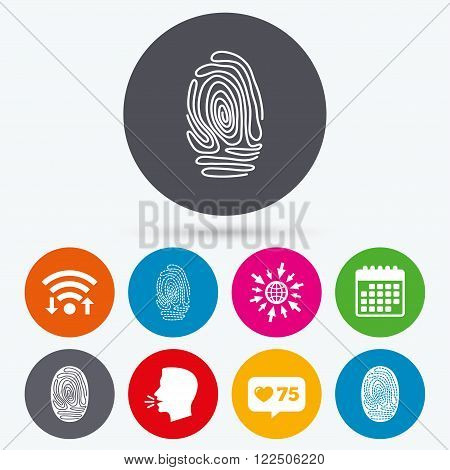 Wifi, like counter and calendar icons. Fingerprint icons. Identification or authentication symbols. Biometric human dabs signs. Human talk, go to web.