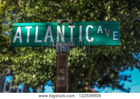 PROVINCETOWN-SEPTEMBER 14: Street sign for Atlantic Ave in Provincetown, Cape Cod , Massachussets, USA on September  14, 2014.