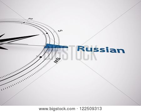 a 3d made compass focus on russian as keyword