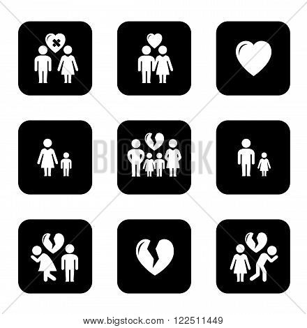 couple breakup, divorce black icons set on white background