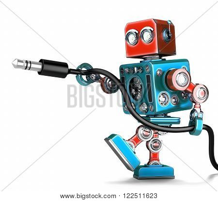 Retro Robot with stereo audio jack. Isolated over white. Contains clipping path