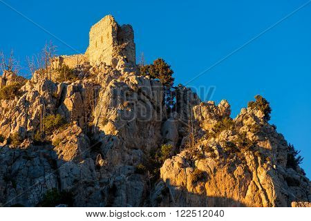 Saint Hilarion Castle, a large castle complex halfway between Kyrenia and Nicosia in Cyprus
