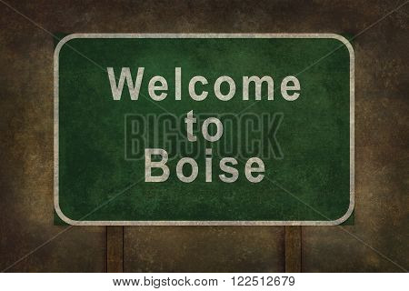 Welcome to Boise road sign illustration with distressed ominous background