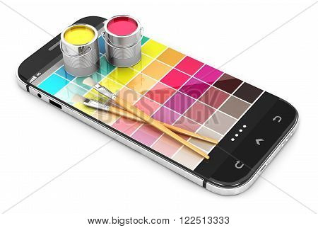 3d smartphone concept with color samples isolated white background