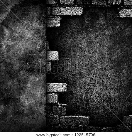 broken brick wall background