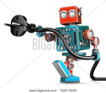 Retro robot with electric plug. 3D illustration. Isolated. Contains clipping path
