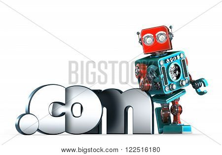 Retro robot with dot COM domain sign. 3D illustration. Isolated. Contains clipping path