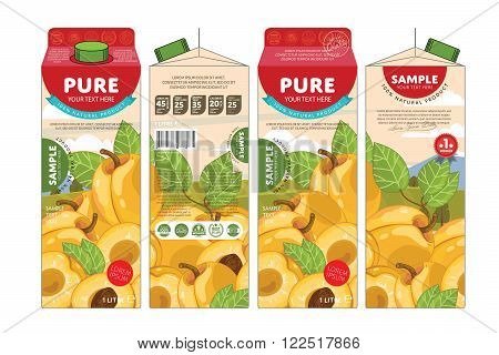 Template packaging design apricot juice. Concept pack design of fruit juice. Abstract cardboard box for juice. Vector packaging of apricot juice. Packaging elements of cardboard box template. Fruit apricot juice