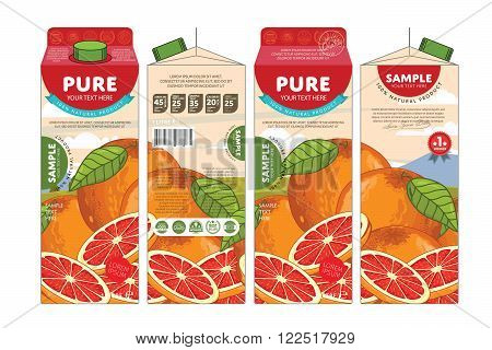 Template packaging design grapefruit juice. Concept pack design of fruit juice. Abstract cardboard box for juice. Vector packaging of grapefruit juice. Packaging elements of cardboard box template. Fruit grapefruit juice