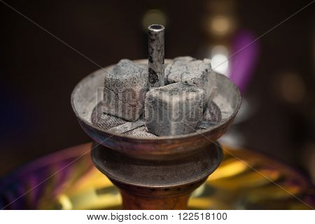 Preparation The Hookah With Charcoal For Smoking