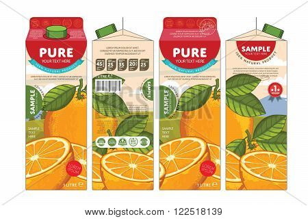 Template packaging design orange juice. Concept pack design of fruit juice. Abstract cardboard box for juice. Vector packaging of orange juice. Packaging elements of cardboard box template. Fruit orange juice