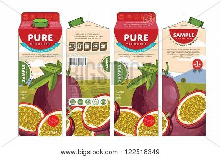 Template packaging design passion fruit juice. Concept pack design of fruit juice. Abstract cardboard box for juice. Vector packaging of passion fruit juice. Packaging elements of cardboard box template. Passion fruit juice