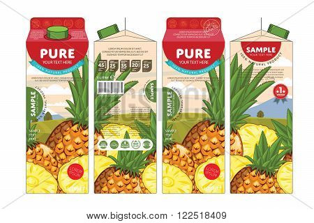 Template packaging design pineapple juice. Concept pack design of fruit juice. Abstract cardboard box for juice. Vector packaging of pineapple juice. Packaging elements of cardboard box template. Fruit pineapple juice