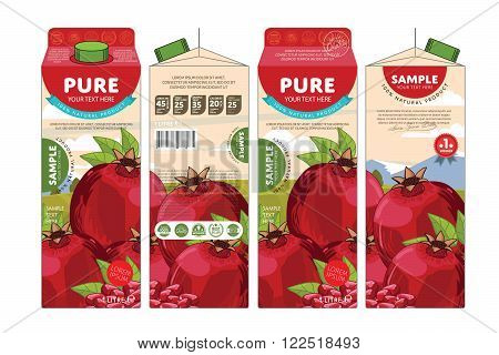 Template packaging design pomegranate juice. Concept pack design of fruit juice. Abstract cardboard box for juice. Vector packaging of pomegranate juice. Packaging elements of cardboard box template. Pomegranate juice