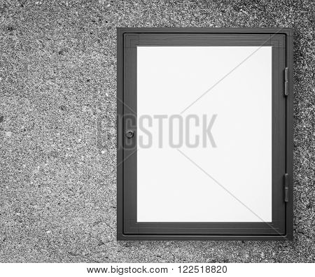 Wood window display frame on vintage cement wall background