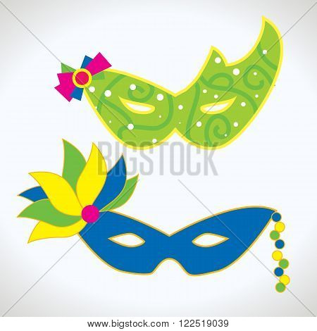 Carnival mask icon. Mask vector. Mask isolated set. Masquerade icon. Fun mask. Mystery mask. Cartoon mask. Mask in simple style vector illustration. Mask face.
