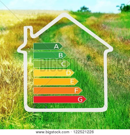 House with energy efficiency scale image on field landscape background