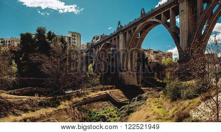 San Jordi Bridge, Art Deco style, one of the most famous bridge in Alcoy city.  The city is known as