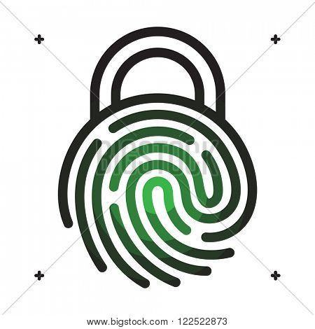 Fingerprint access icon. Fingerprint with lock shape. Fingerprint security concept icon. Vector fingerprint on white. Fingerprint technology. Unlock with fingerprint.