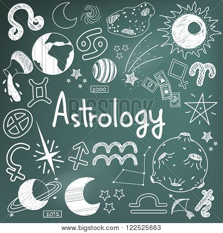 Astrology and fortunetelling doodle handwriting sketch sign and symbol in blackboard background used for presentation title or subject introduction create by vector