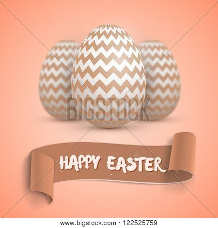 Illustration of Realistic Vector Easter Egg Set. Happy Easter Painted Vector Egg Set with Ribbon Banner and DOF Photography Effect