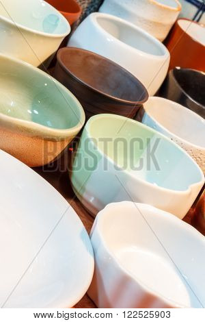 Ceramic bowl in asian style. Isolated on white.