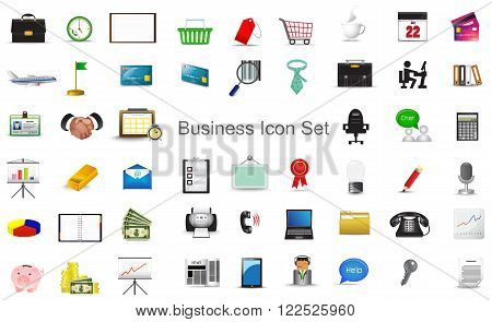 Business financial marketing activity and office stationary tool icon collection set for website create by vector