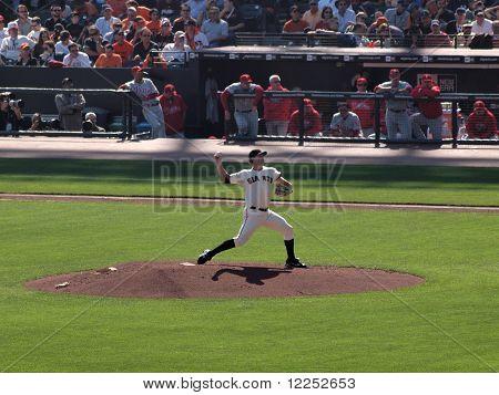 Pitcher Matt Cain Steps Into Leg To Build Power As He Steps Into A Throw