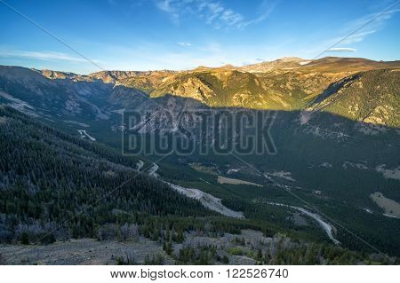 Aerial view of sunrise in the Beartooth Mountains near Red Lodge, Montana