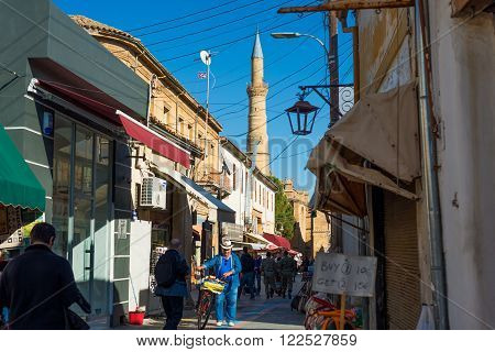 NICOSIA CYPRUS - DECEMBER 3: Arasta street a touristic street leading to an Selimiye mosque on December 3 2015 in Nicosia.