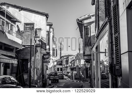 NICOSIA, CYPRUS - DECEMBER 3: Narrow street in old part of Nicosia on December 3, 2015