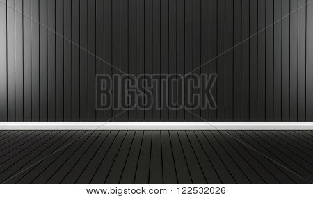 Black aluminum panels wall and floor with white cornice