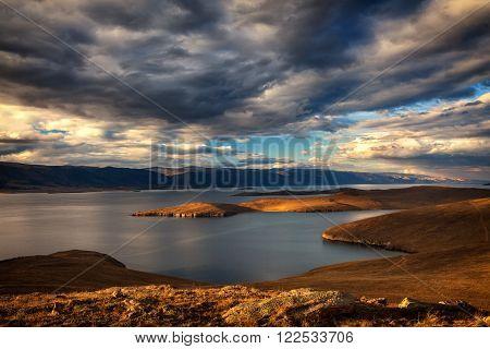 Windstorm above Baikal lake. Maloe more, Russia