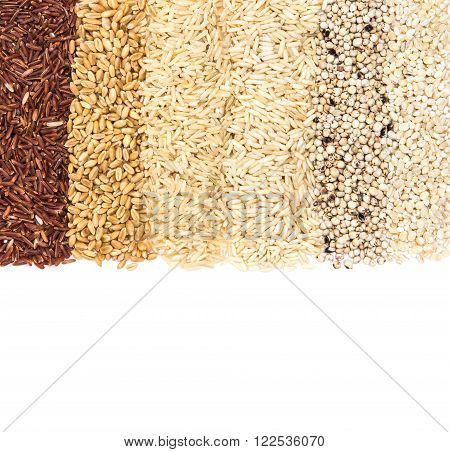 The Variety rows of grain rice; coarse red and white rice , millet ,barley , wheat, oat seed ( ingredients to make Rejuvenating Concoction water for healthy drink )